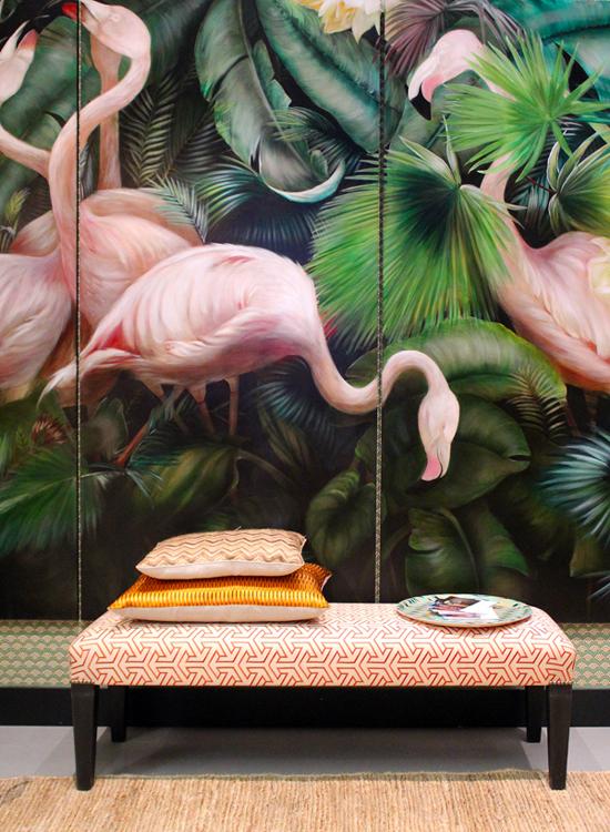 Фламинго в дизайне интерьера