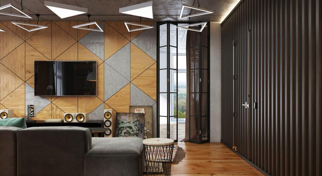 Геометрический декор стен в интерьере гостиной