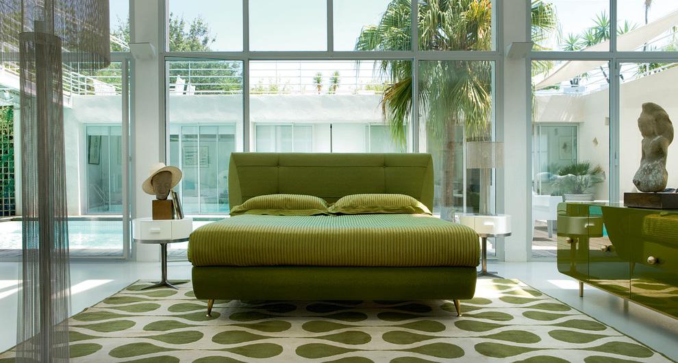 Зеленая \ greenery спальня в интерьере