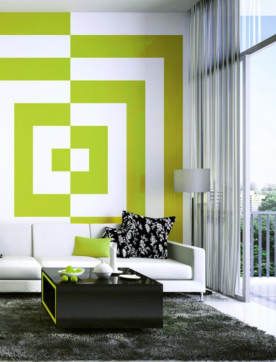 Зеленая геометрия в интерьере