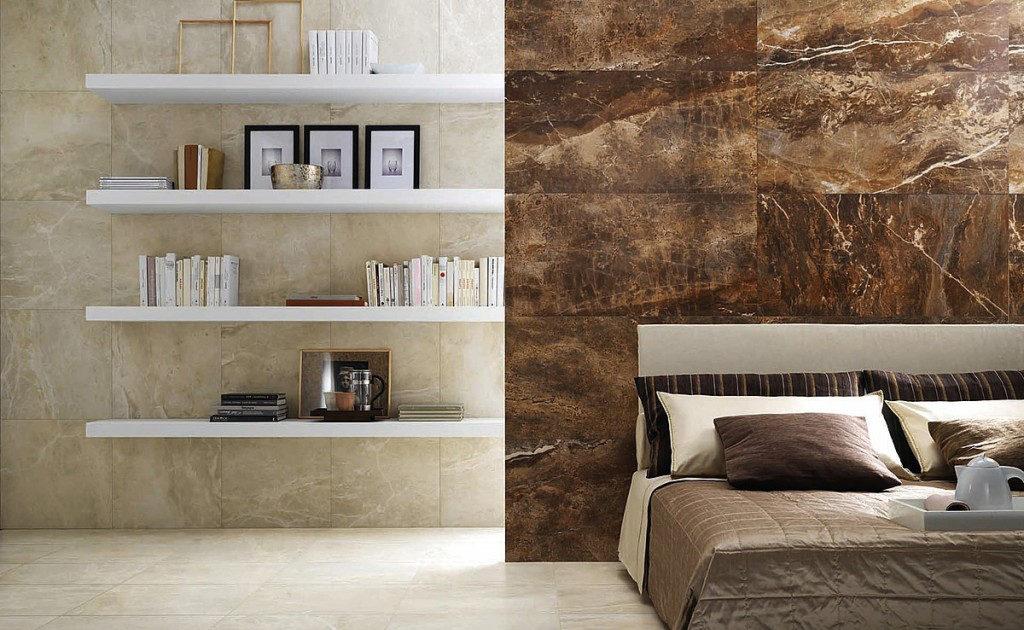 Мрамор в интерьере спальни