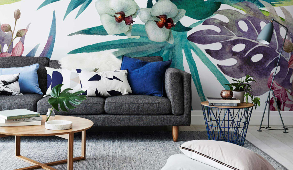Тропический стиль в интерьере гостиной