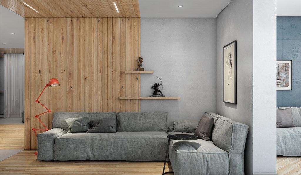 Деревянный элемент в интерьере гостиной